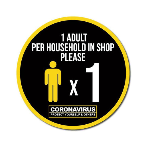 1 Adult Per Household, Indoor Circle Floor Signage, 60cm Diameter