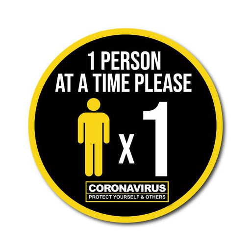 One Person at a Time Vinyl Circular Sticker, 10 pack – 105mm and 300mm