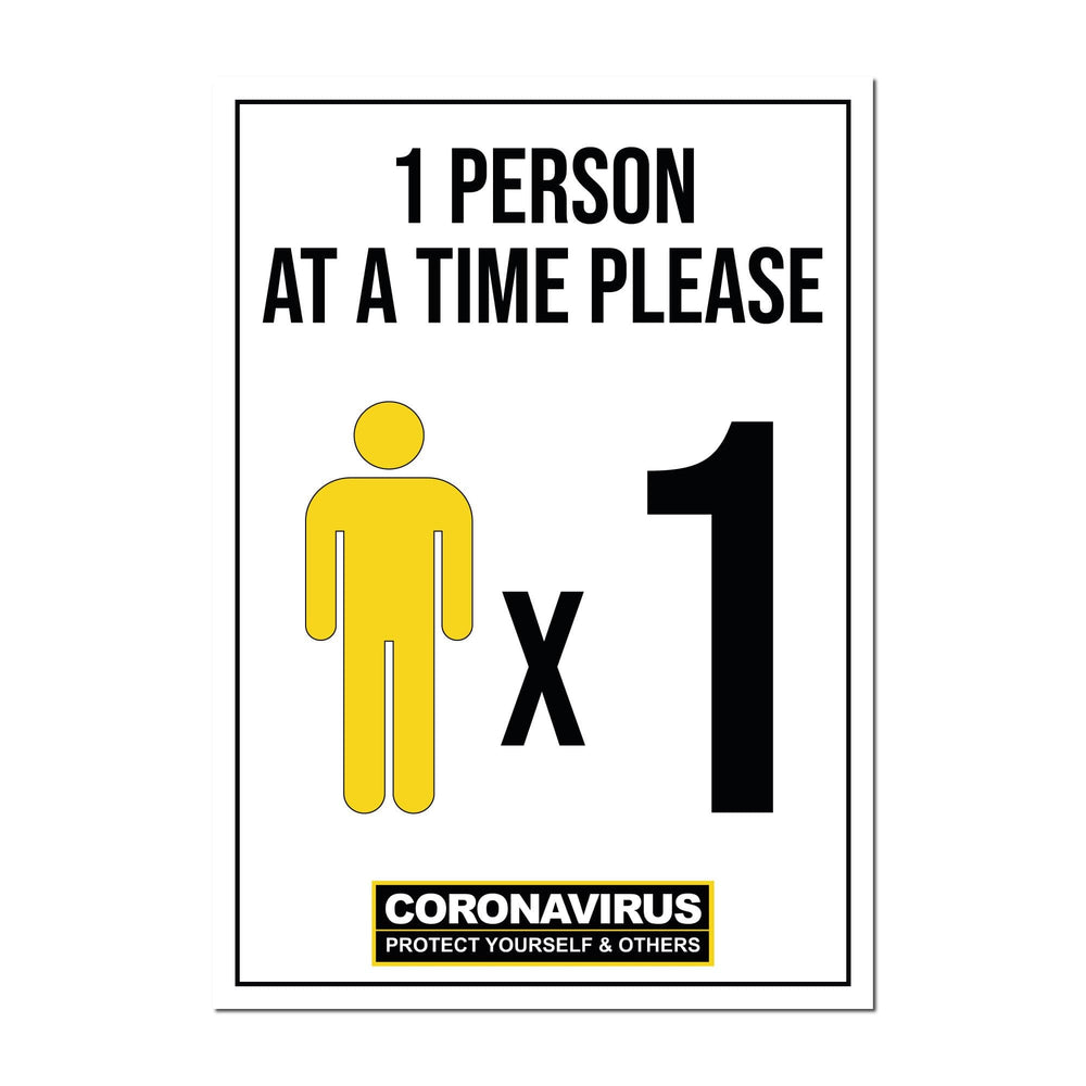 1 Person At A Time, Window Signs For Shops, Pubs, Restaurants & Hotels