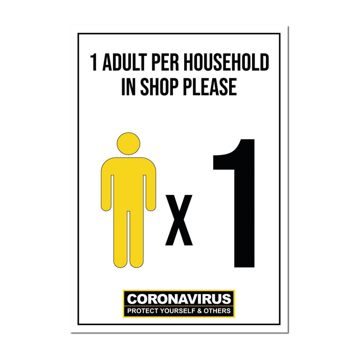 1 Adult Per Household, Window Signs For Shops, Pubs, Restaurants & Hotels