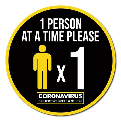 1 Person At A Time Please, Social Distancing Circular Floor Signage, Outdoor/Heavy Duty Usage - 60cm Diameter