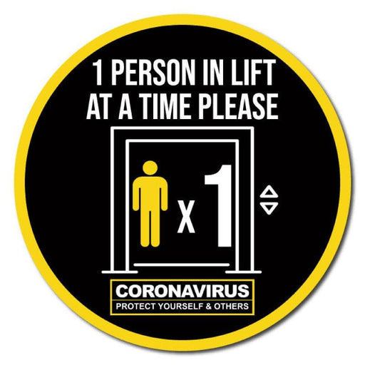 1 Person At A Time In Lift, Indoor Circle Floor Signage, 60cm Diameter