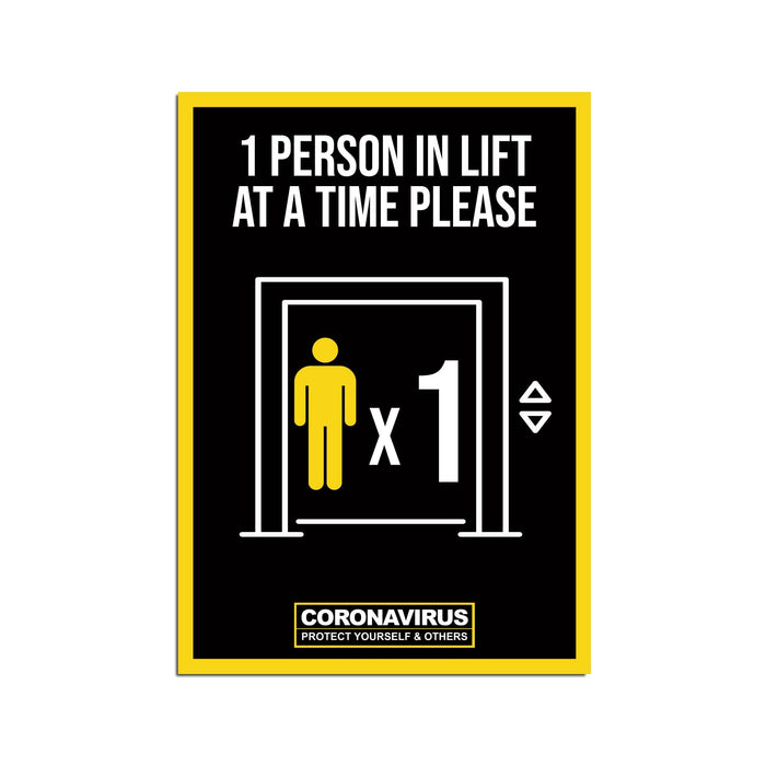 1 Person Lift Poster For Offices, Shops, Restaurants & Hotels (Pack of 5)