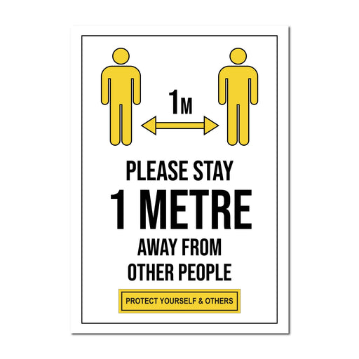 Please Stay 1 Metre Away From Other People, Window Sign For Shops, Pubs & Hotels