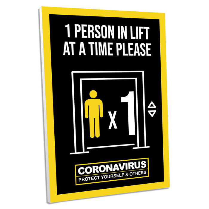 1 Person In Lift, Foamex Sign (Pack of 5)