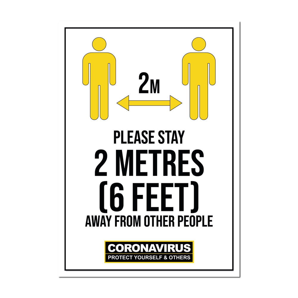 Please Stay 2 Metres Away, Window Signs For Shops, Pubs, Restaurants & Hotels