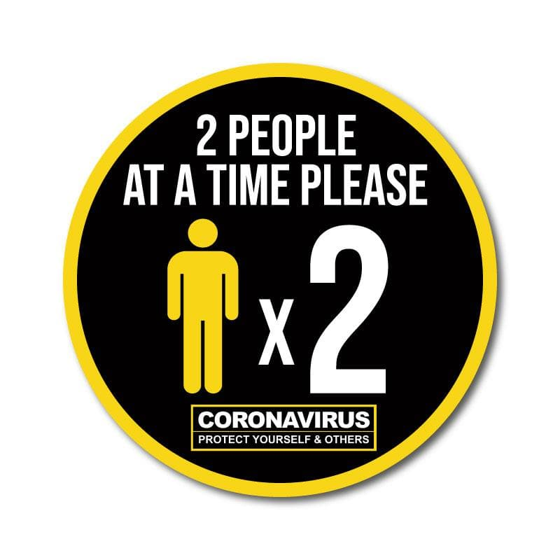 Two People at a Time Vinyl Circular Sticker, 10 pack – 105mm and 300mm