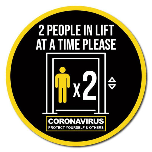 2 People At A Time In Lift, Indoor Circle Floor Signage, 60cm Diameter