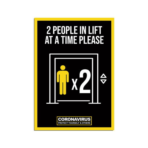 2 People Lift Poster For Offices, Shops, Restaurants & Hotels (Pack of 5)