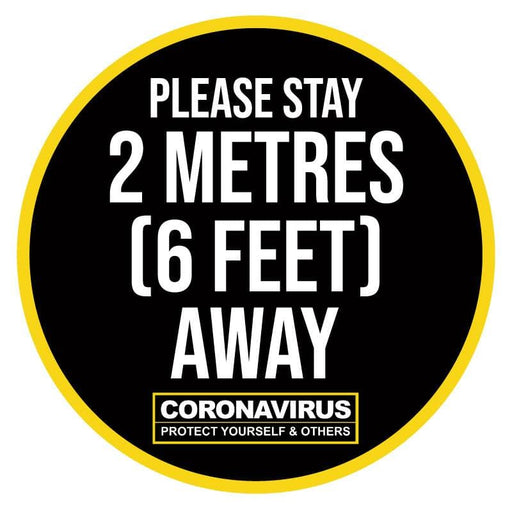 Please Stay 2 Metres (6 Feet) Away, Indoor Floor Sticker 300mm (Pack of 5)