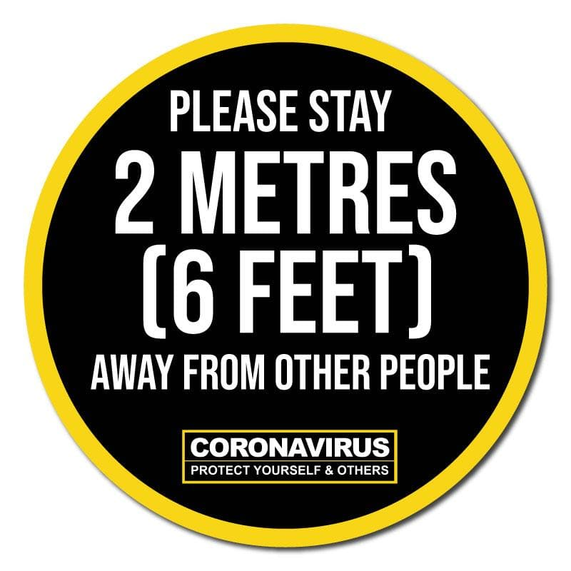 Please Stay 2 Meters Away, Social Distancing Circular Floor Signage, Outdoor/Heavy Duty Usage - 60cm Diameter