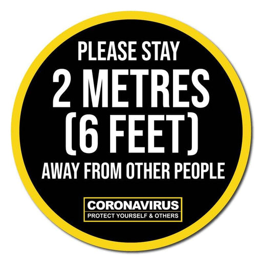 Please Stay 2 Metres (6 Feet) Away From Other People, Indoor Sticker 300mm (Pack of 5)
