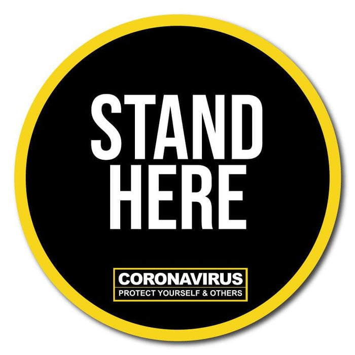 Stand Here, Indoor Sticker 300mm (Pack of 5)