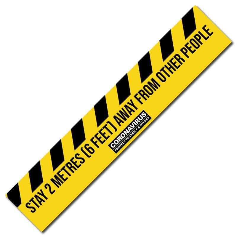 2 Metre Social Distancing Floor Signage, Outdoor/Heavy Duty Usage - 38cm x 200cm