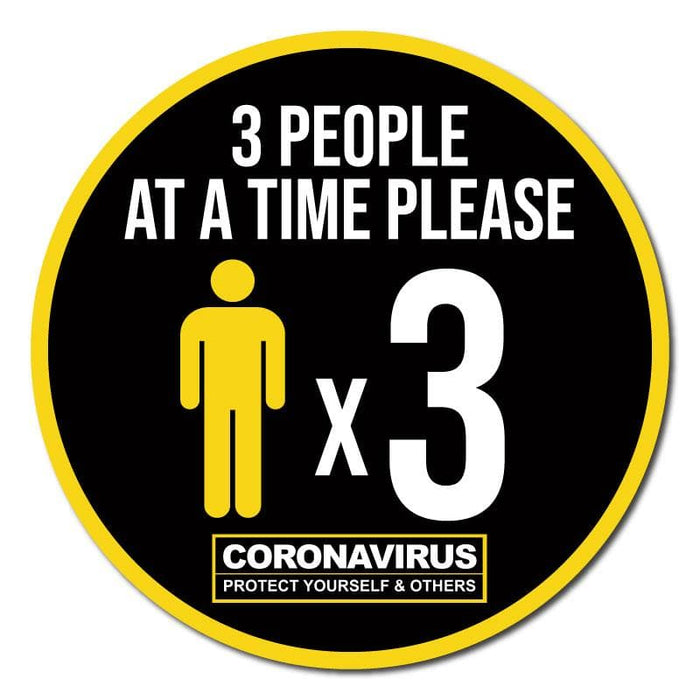 3 People At A Time Please, Indoor Circle Floor Signage, 60cm Diameter