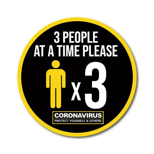Three People at a Time Vinyl Circular Sticker, 10 pack – 105mm and 300mm
