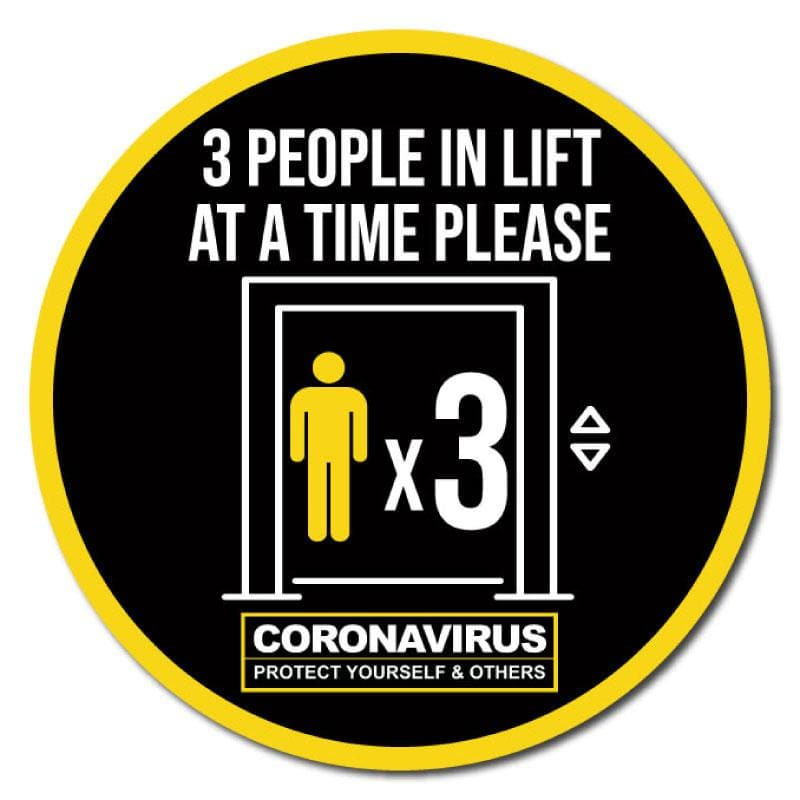 3 People At A Time In Lift, Indoor Circle Floor Signage, 60cm Diameter