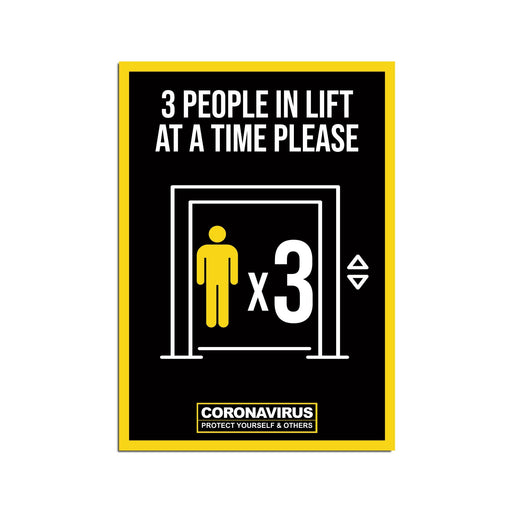 3 People Lift Poster For Offices, Shops, Restaurants & Hotels (Pack of 5)