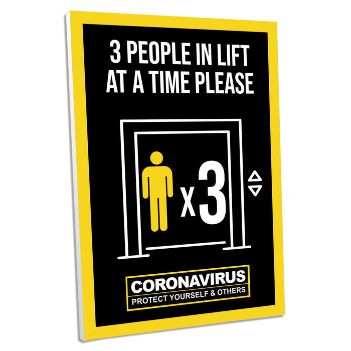 3 People In Lift, Foamex Sign (Pack of 5)
