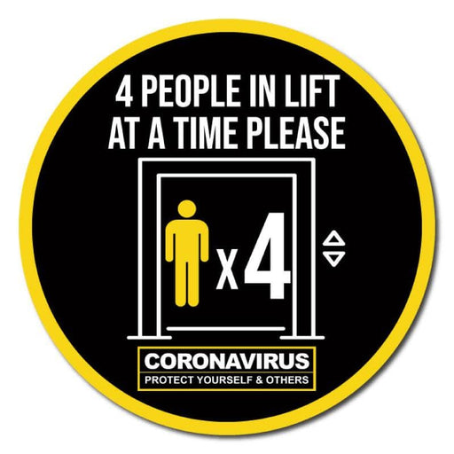 4 People At A Time In Lift, Indoor Circle Floor Signage, 60cm Diameter