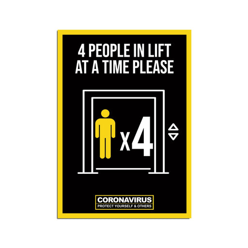 4 People Lift Poster For Offices, Shops, Restaurants & Hotels (Pack of 5)