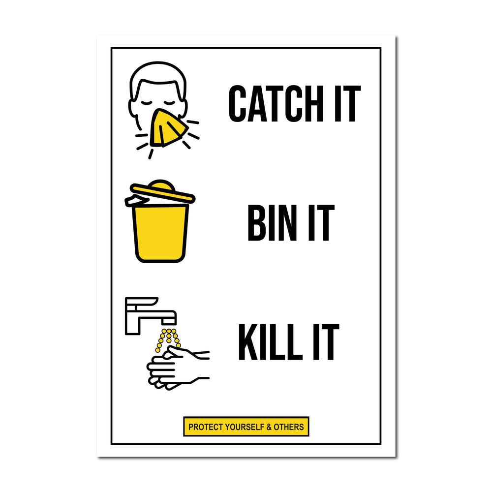 Catch It, Bin It, Kill It, Window Signs For Shops, Pubs, Restaurants & Hotels