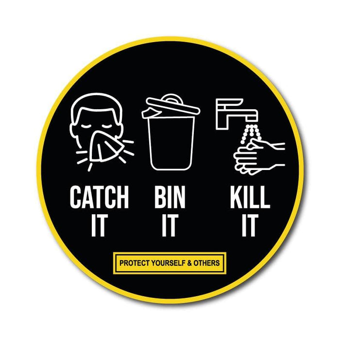 Catch It, Bin it, Kill It, Vinyl Circular Sticker, 10 pack – 105mm and 300mm