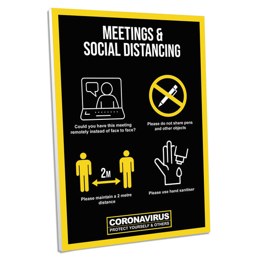 2 Metre Meeting Guidance, Foamex Sign (Pack of 5)