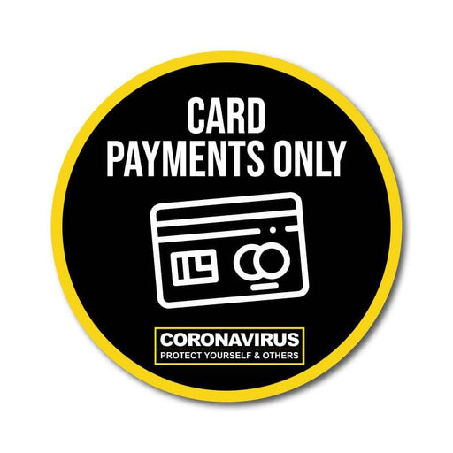 Card Payment Only Vinyl Circular Sticker, 10 pack – 105mm and 300mm