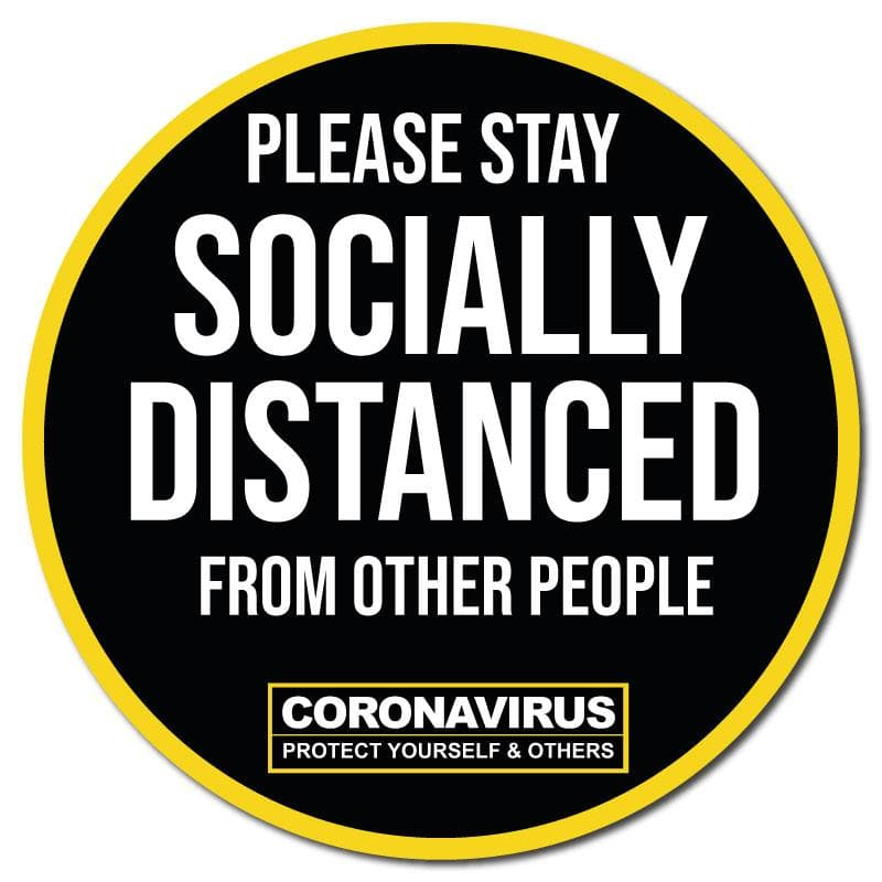 Please Stay Socially Distanced, Indoor Circle Floor Signage, 300mm Diameter (Pack of 5)