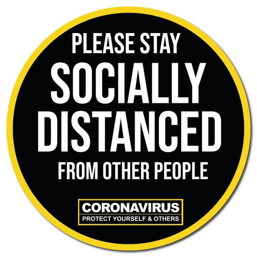 Please Stay Socially Distanced, Circular Floor Signage, Outdoor/Heavy Duty Usage - 60cm Diameter