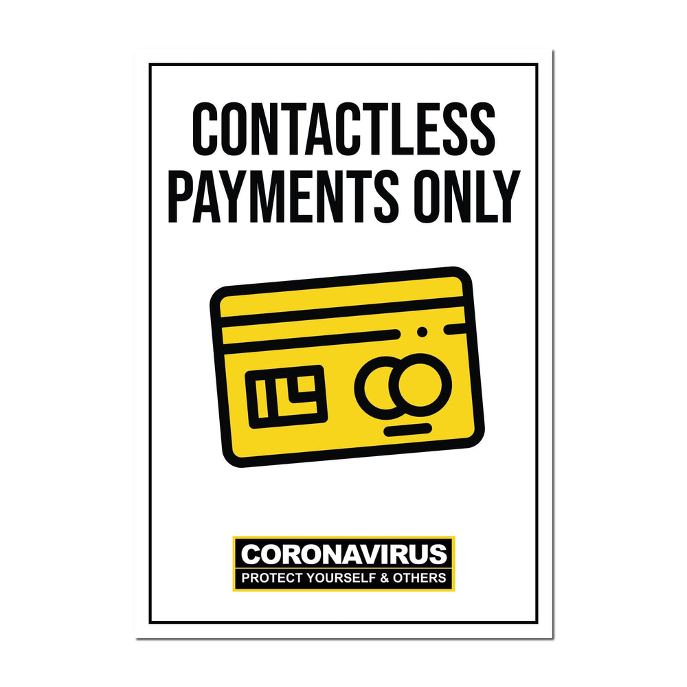 Contactless Payments Only, Window Signs For Shops, Pubs, Restaurants & Hotels