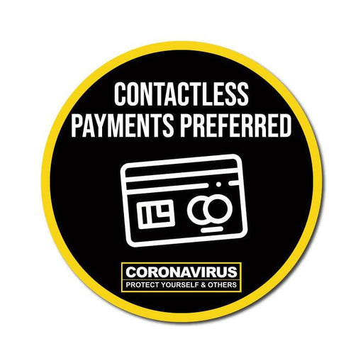 Contactless Payments Preferred, Vinyl Circular Sticker, 10 pack – 105mm and 300mm
