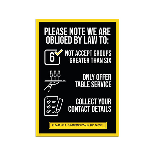 Rule Of Six Poster (Pack of 5) For Pubs, Restaurants & Hotels