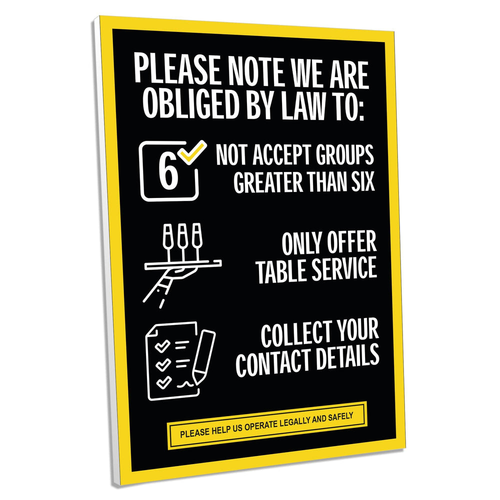 Rule Of Six Foamex Sign (Pack of 5) For Pubs, Restaurants & Hotels