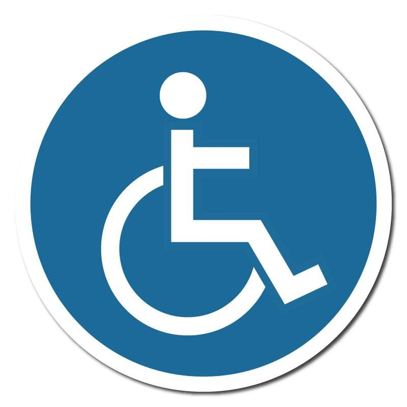 Blue Disabled Symbol, Vinyl Circular Sticker, 10 pack – 105mm and 300mm