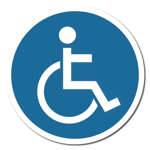 Blue Disabled Symbol, Indoor Floor Sticker 300mm (Pack of 5)