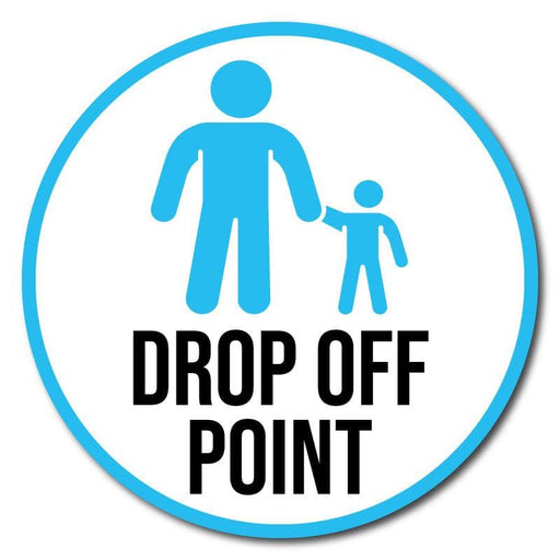 School Drop Off Point, Outdoor Floor Signage - 60cm Diameter, Multiple Colours Available