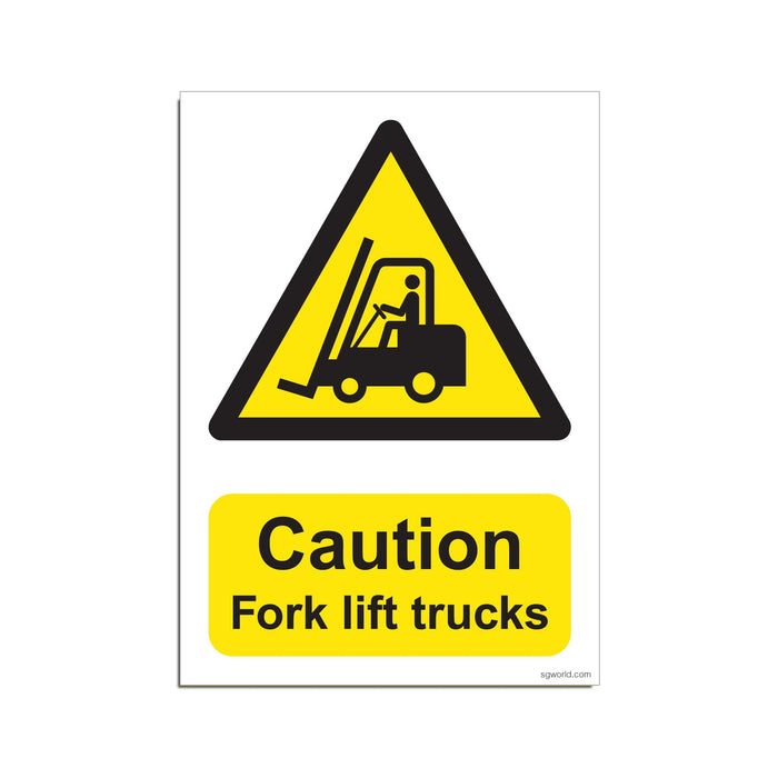 Caution Fork Lift, Waterproof Poster - Warehouse & Factory Safety Sign