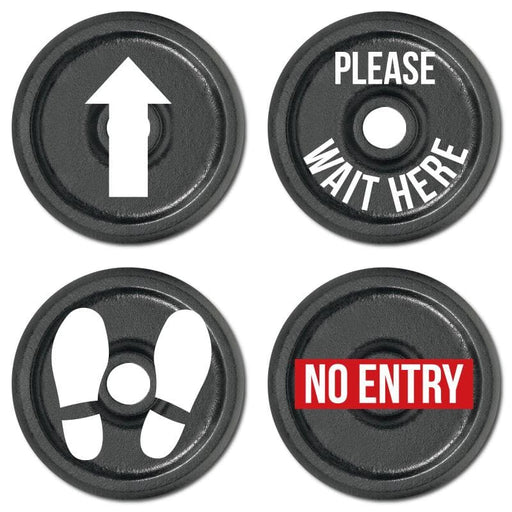 Gym Weight, Indoor Floor Signage, Various Messages Available (Pack of 5)