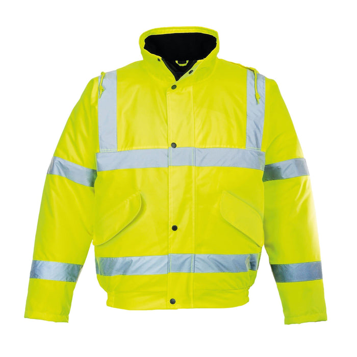 Hi Vis Bomber Jacket. The Reverse of the jacket says Please Keep Your Distance | SG World
