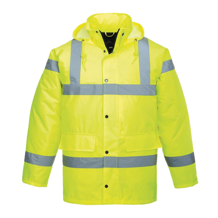 Front View Of Social Distancing Hi Viz Traffic Jacket With Zip Closed | SG World