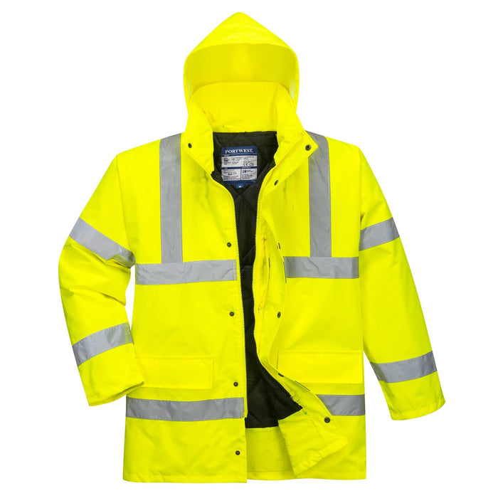 Front View Of Social Distancing Hi Viz Traffic Jacket With Zip Open | SG World