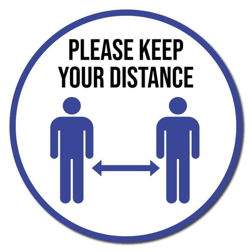 Please Keep Your Distance, Indoor Circle Floor Signage, 60cm Diameter