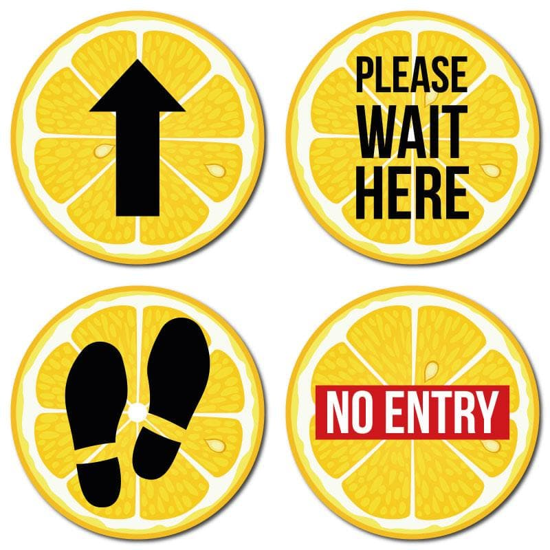 Lemon Indoor Hospitality Floor Signage, Various Messages Available (Pack of 5)