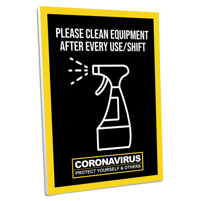 Please Clean Equipment After Use, Foamex Sign (Pack of 5)