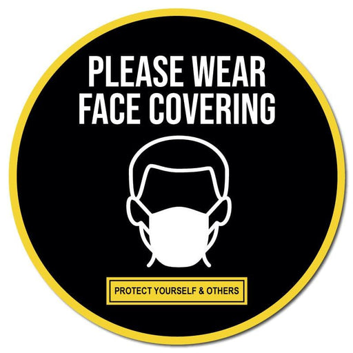 Please Wear Face Covering, Indoor Circle Floor Signage, 30cm Diameter (Pack of 5)