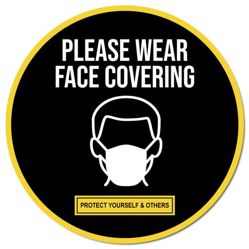 Please Wear Face Covering, Outdoor/Heavy Duty Usage Floor Signage - 60cm Diameter