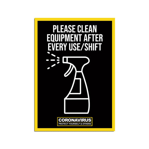 Please Clean Equipment Poster Warehouse & Factory Safety Sign (Pack of 5)