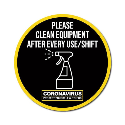 Please Clean Equipment After Every Use/Shift, Vinyl Circular Sticker, 10 pack – 105mm and 300mm